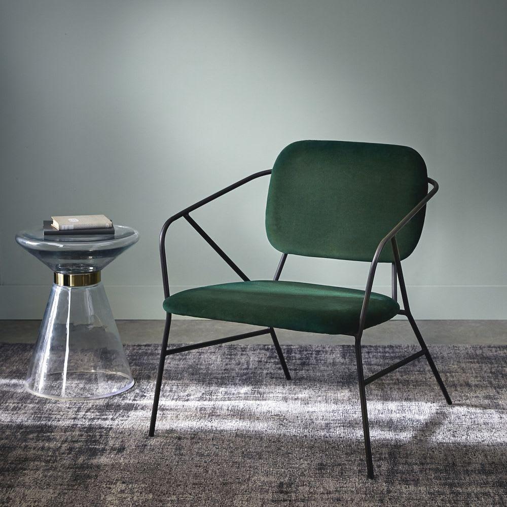 fauteuil en velours vert et m tal noir rhapsody maisons. Black Bedroom Furniture Sets. Home Design Ideas