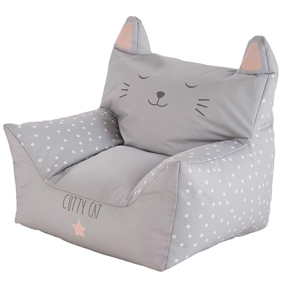 fauteuil enfant imprim gris cats maisons du monde. Black Bedroom Furniture Sets. Home Design Ideas