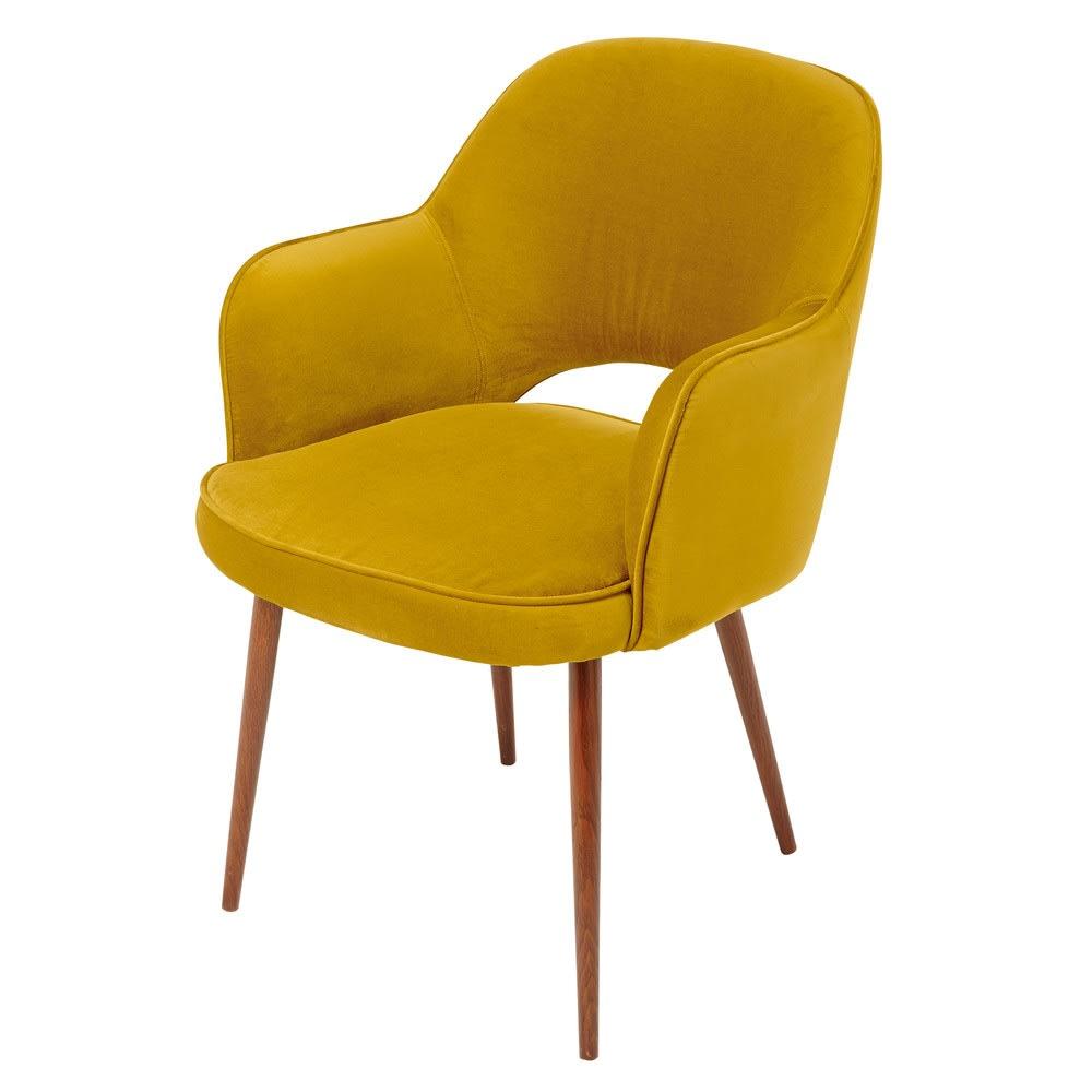 fauteuil professionnel en velours jaune moutarde et métal