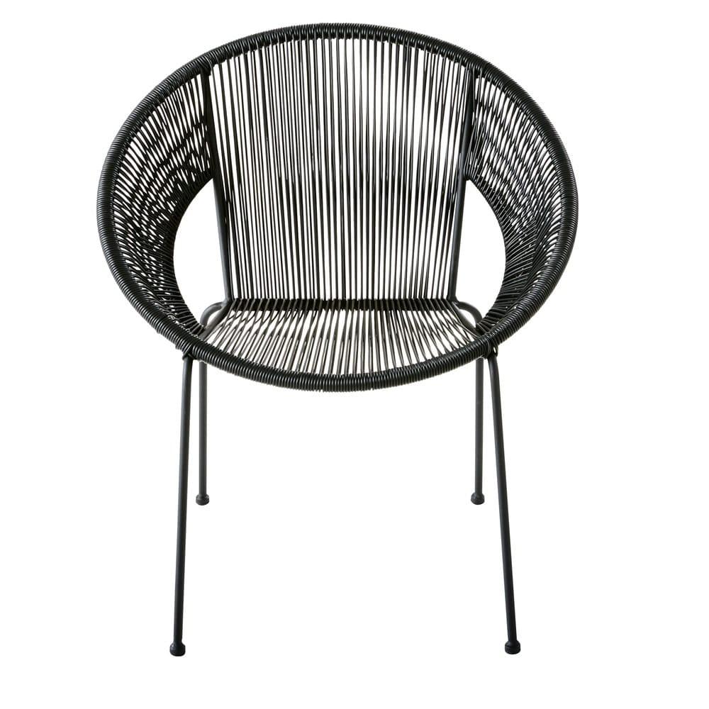 fauteuil rond en fil de r sine noir ko samui maisons du monde. Black Bedroom Furniture Sets. Home Design Ideas