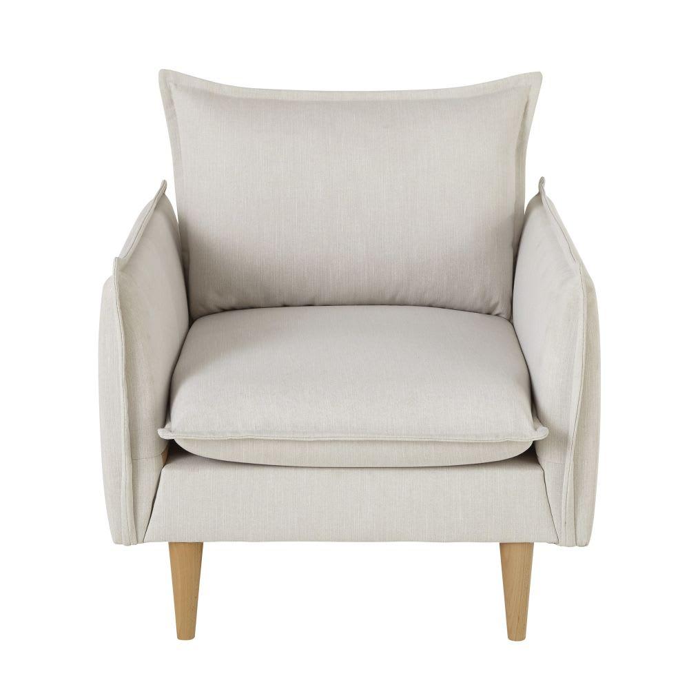 fauteuil style scandinave beige nilson maisons du monde. Black Bedroom Furniture Sets. Home Design Ideas
