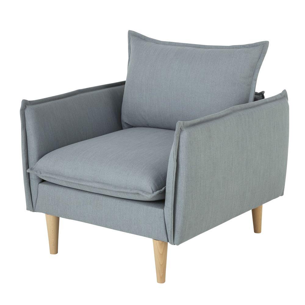 fauteuil style scandinave bleu nilson maisons du monde. Black Bedroom Furniture Sets. Home Design Ideas