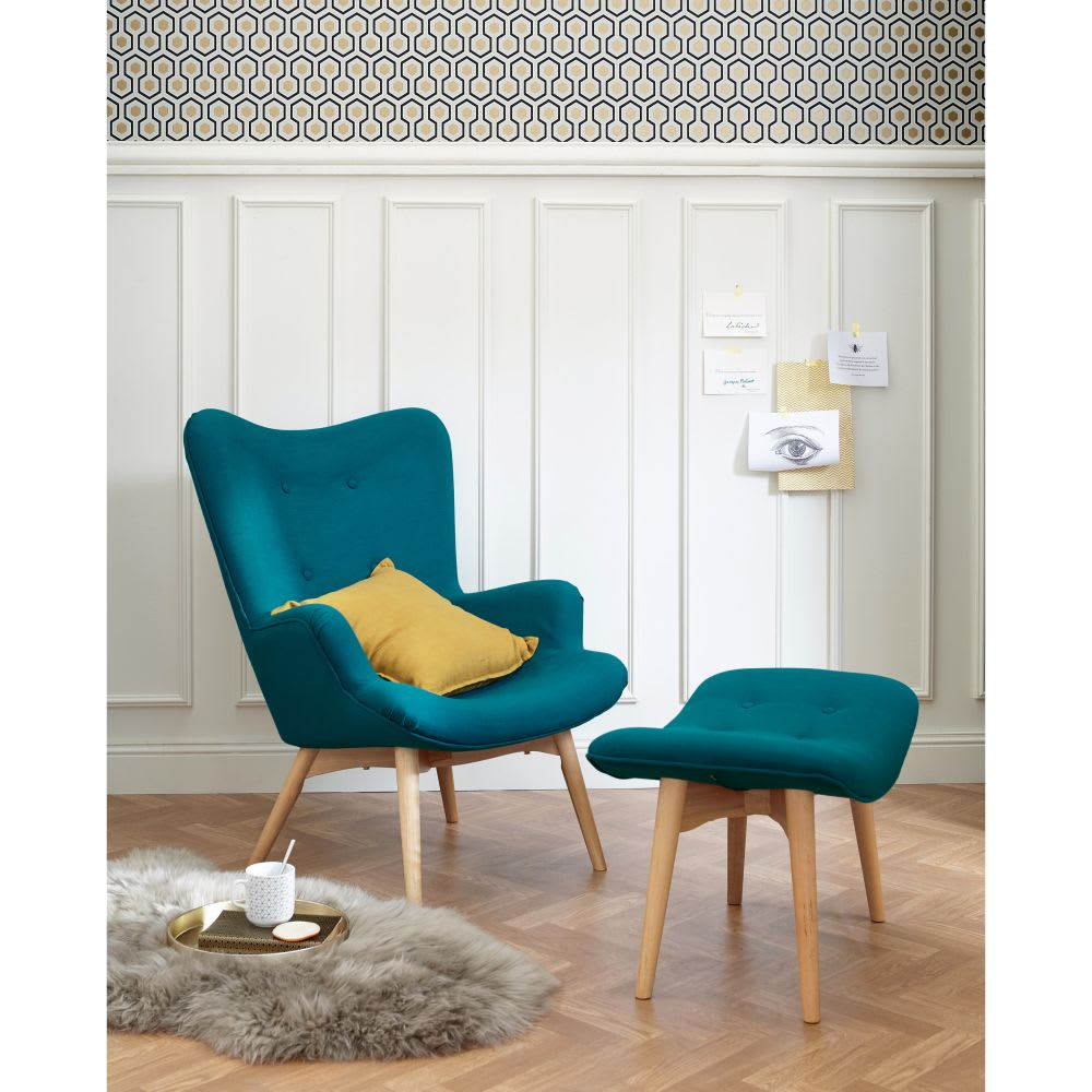 fauteuil style scandinave bleu p trole iceberg maisons du monde. Black Bedroom Furniture Sets. Home Design Ideas