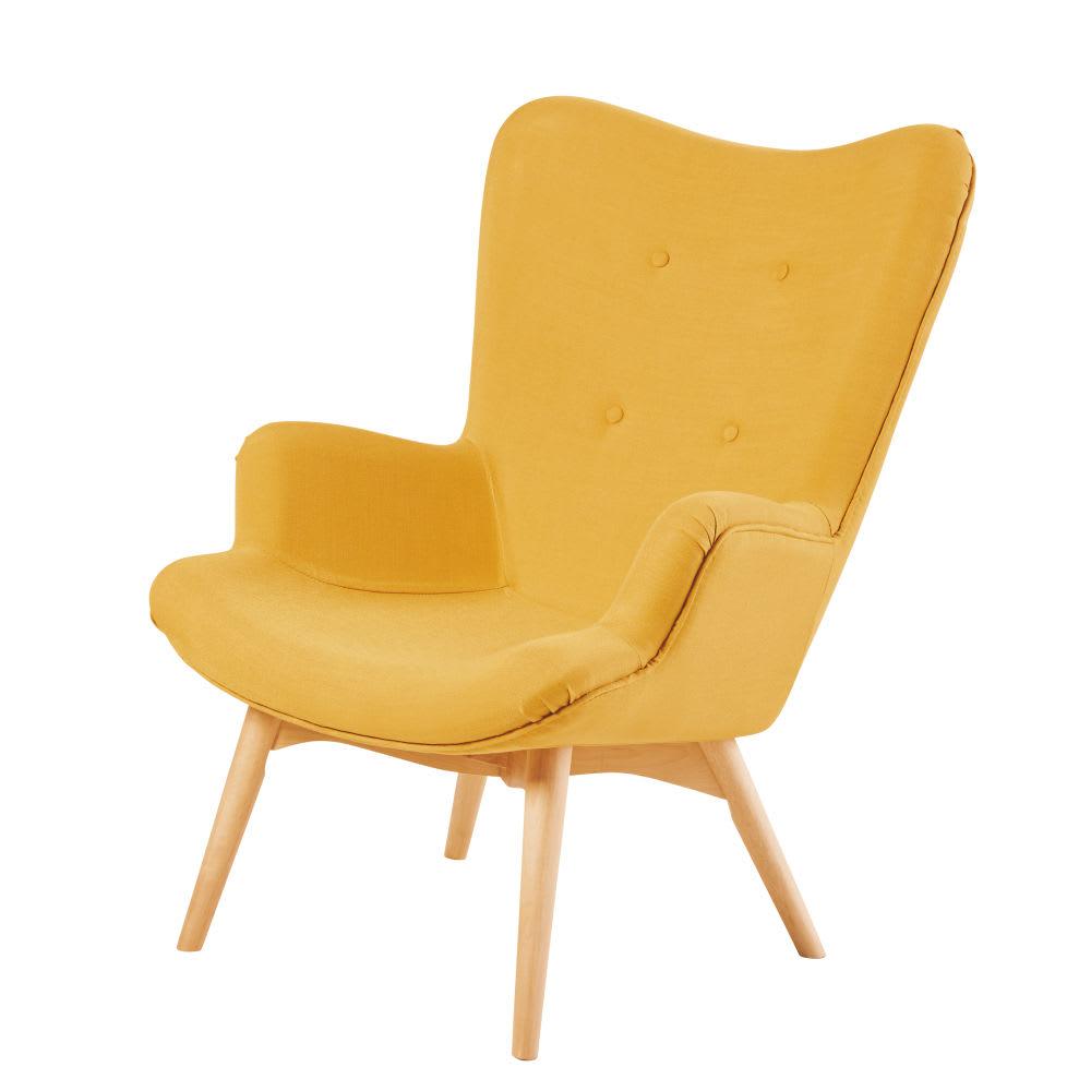 fauteuil style scandinave jaune iceberg maisons du monde. Black Bedroom Furniture Sets. Home Design Ideas