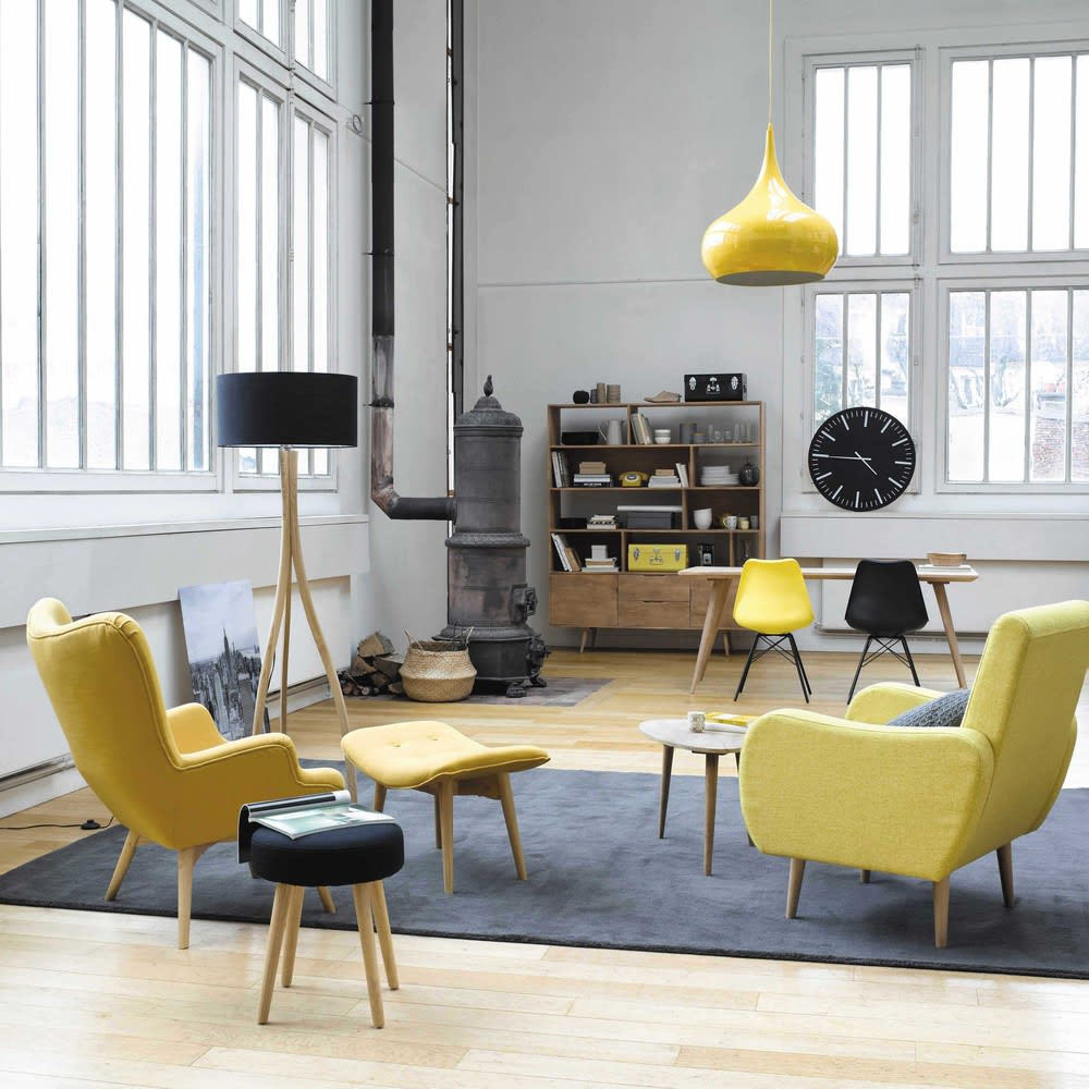 fauteuil style scandinave jaune iceberg maisons du monde. Black Bedroom Furniture Sets. Home Design Ideas