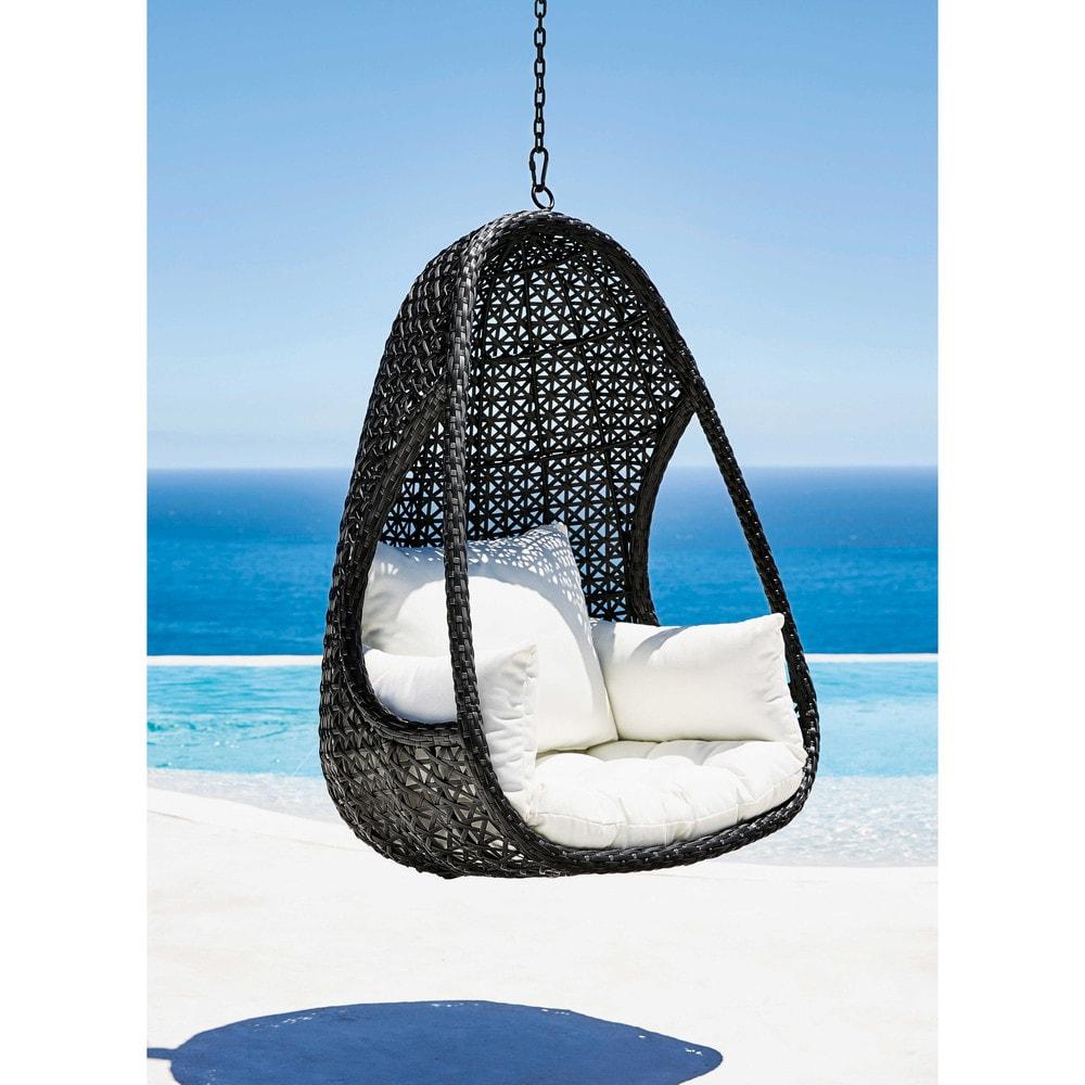 fauteuil suspendu de jardin en r sine tress e noire et. Black Bedroom Furniture Sets. Home Design Ideas