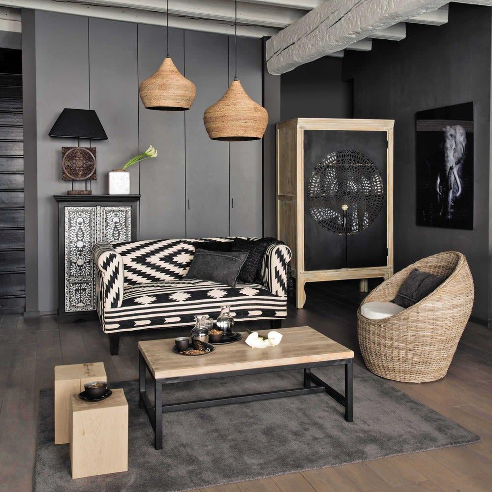 Fauteuil tress en rotin kubu cocoon maisons du monde - Canape style africain ...