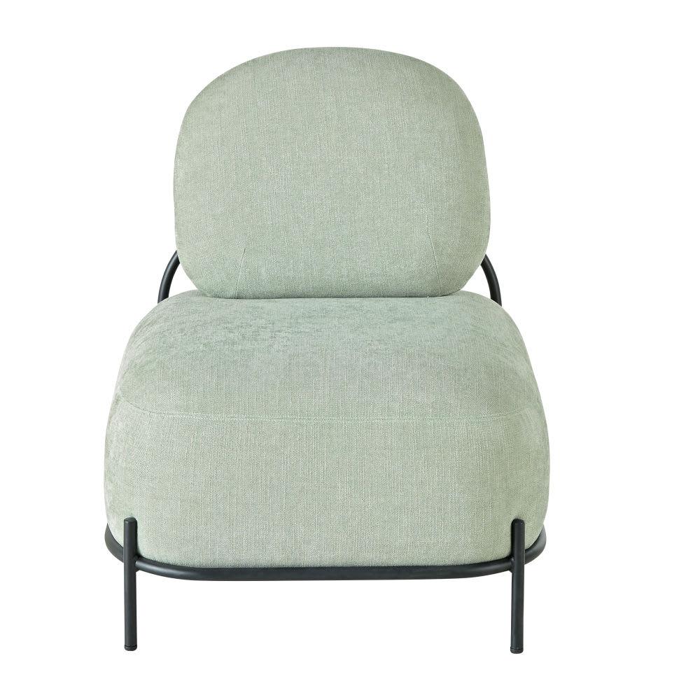 fauteuil vert et m tal noir froggy maisons du monde. Black Bedroom Furniture Sets. Home Design Ideas