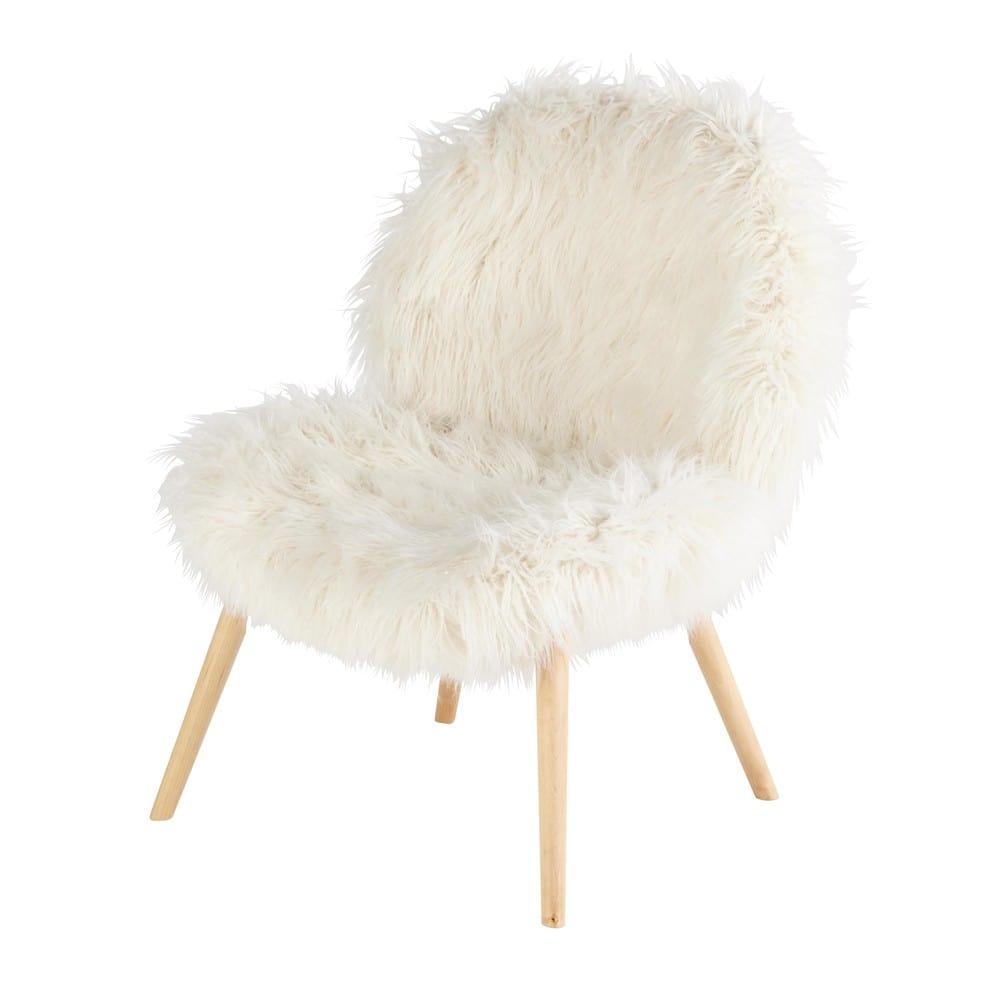 bobby - fauteuil vintage en fausse fourrure blanche