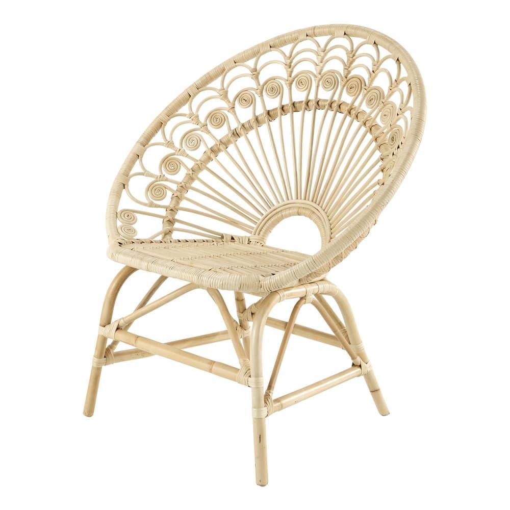 peacock - fauteuil vintage en rotin