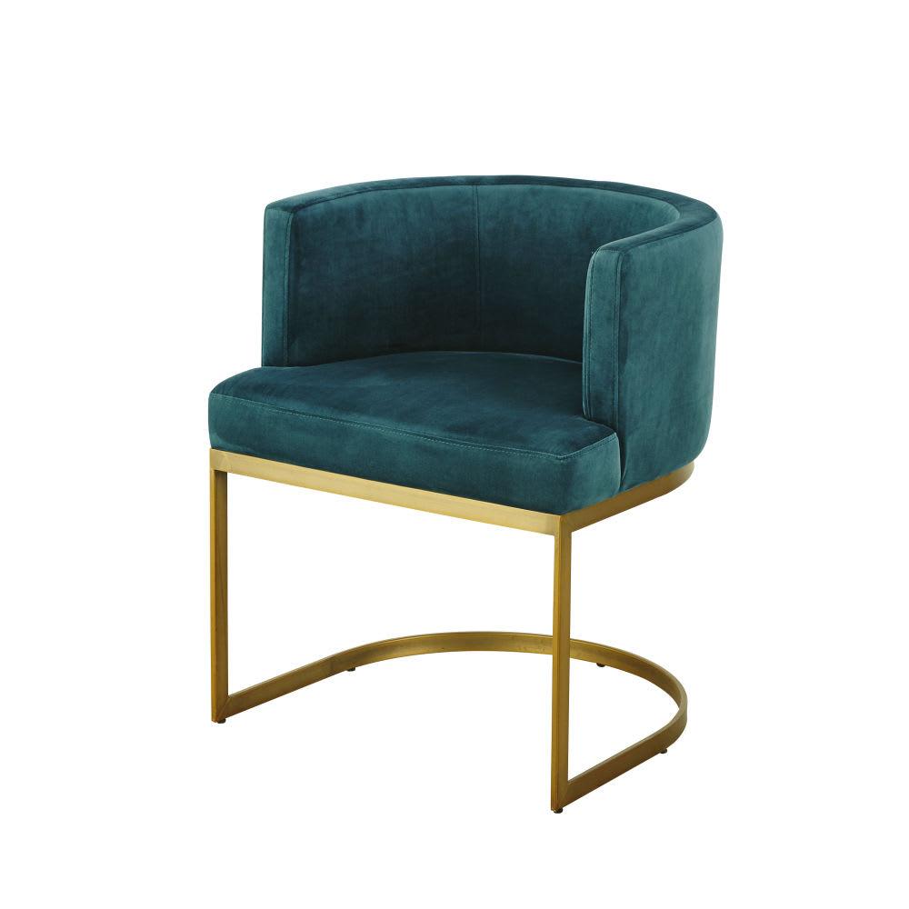 fauteuil vintage en velours bleu canard requiem maisons du monde. Black Bedroom Furniture Sets. Home Design Ideas