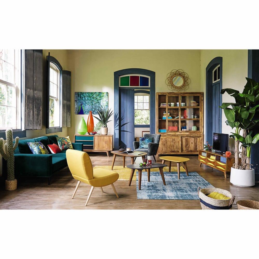 fauteuil vintage jaune cosmos maisons du monde. Black Bedroom Furniture Sets. Home Design Ideas