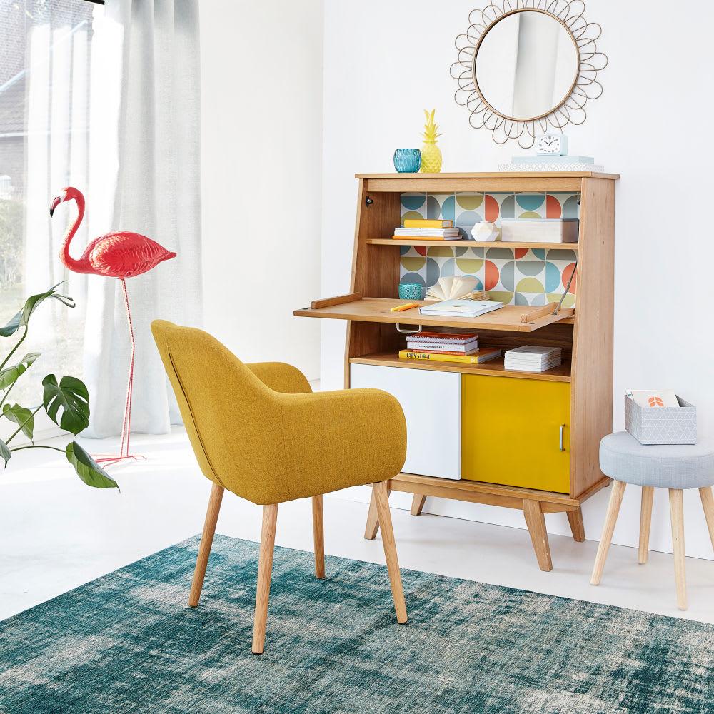 fauteuil vintage jaune moutarde arnold maisons du monde. Black Bedroom Furniture Sets. Home Design Ideas