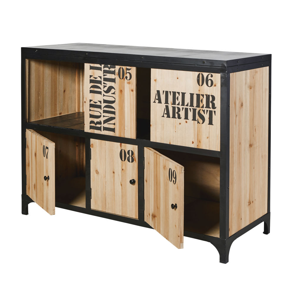Fir And Black Metal Industrial Sideboard Docks Maisons Du Monde