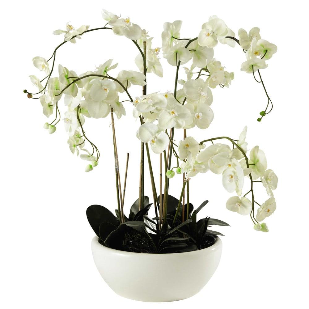potted artificial orchid h 98cm flora maisons du monde