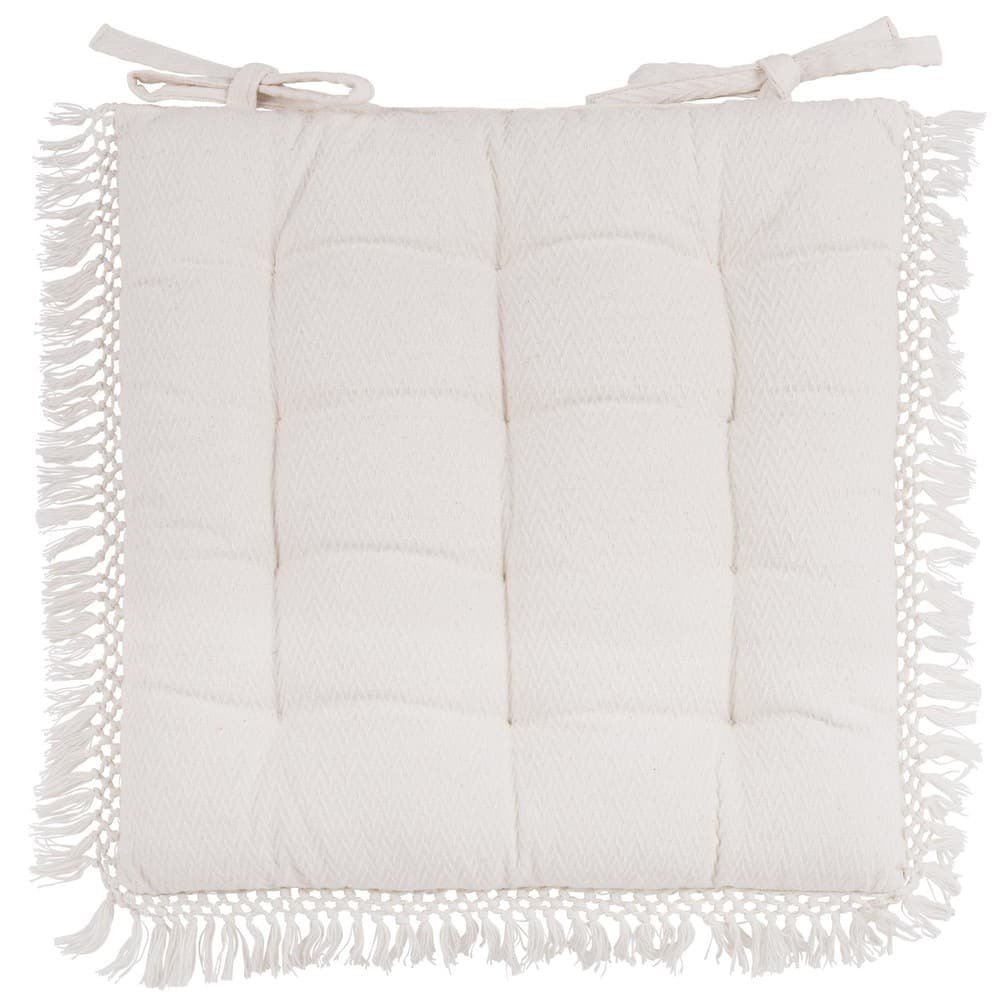 Galette De Chaise En Coton Blanc 40x40 Chebika