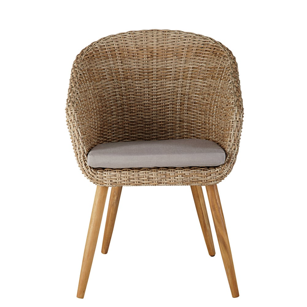 Garden chair in resin wicker and solid acacia kuta