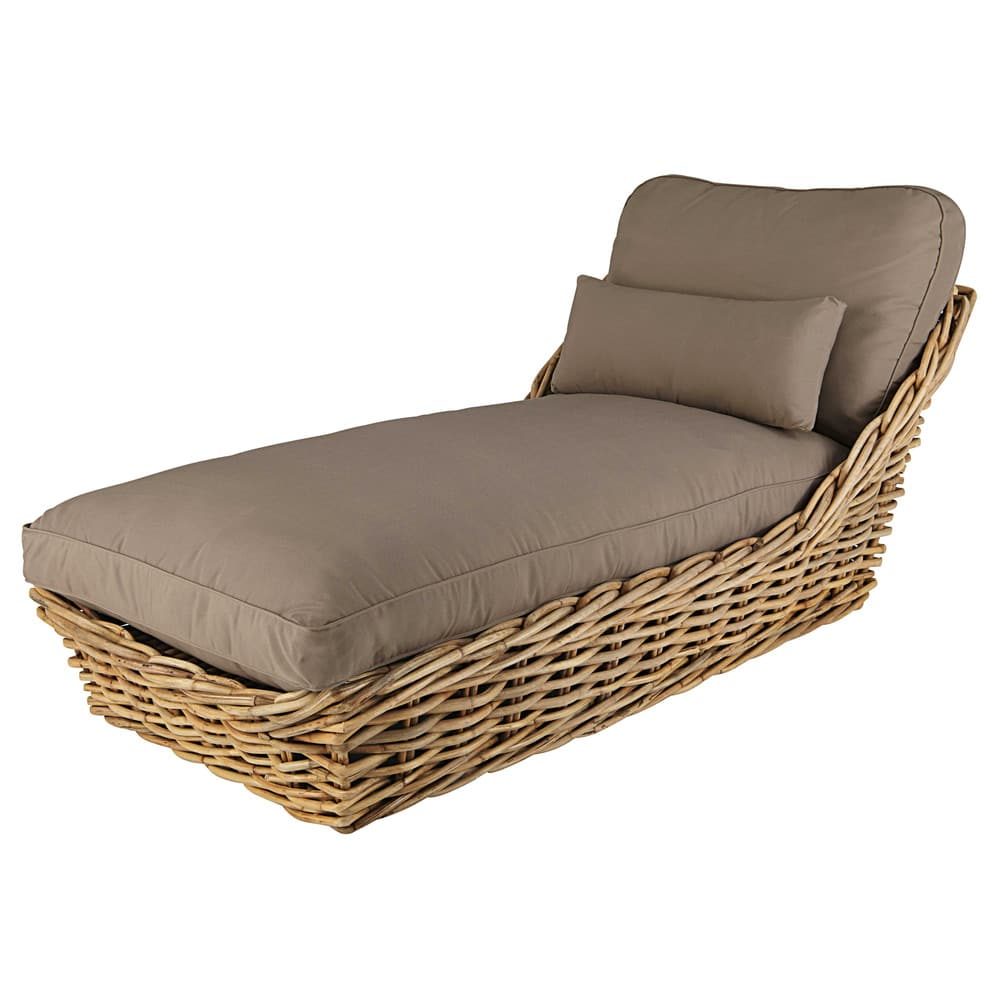 Garden Chaise Longue In Rattan With Taupe Cushions St Tropez