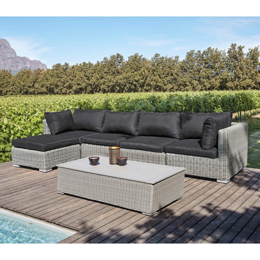 Garden low sofa in grey resin wicker Cape Town   Maisons ...