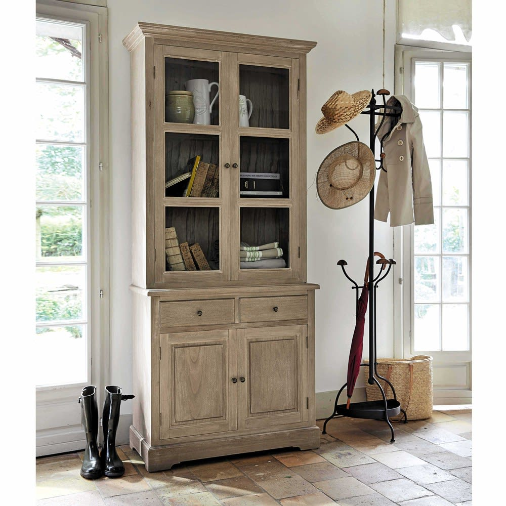 garderobe aus tannenholz und metall mit rosteffekt armand. Black Bedroom Furniture Sets. Home Design Ideas