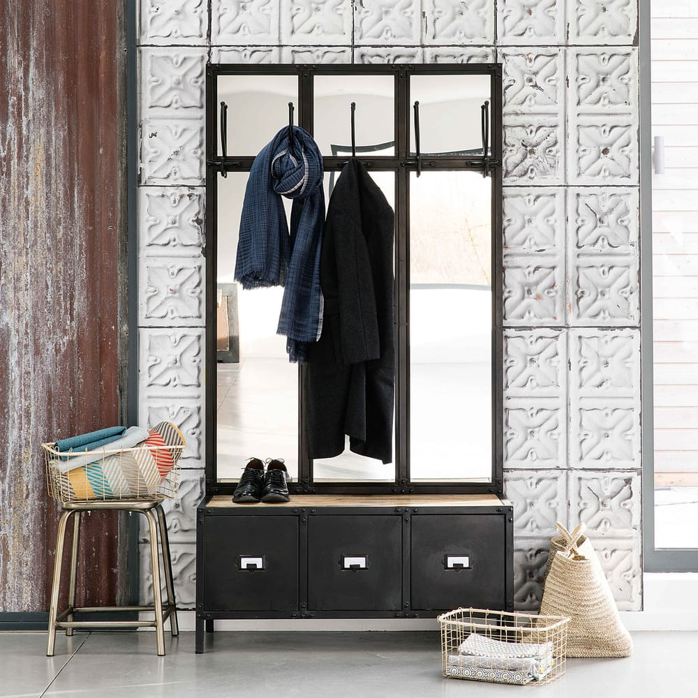 garderobenm bel aus metall mit spiegel schwarz scott maisons du monde. Black Bedroom Furniture Sets. Home Design Ideas