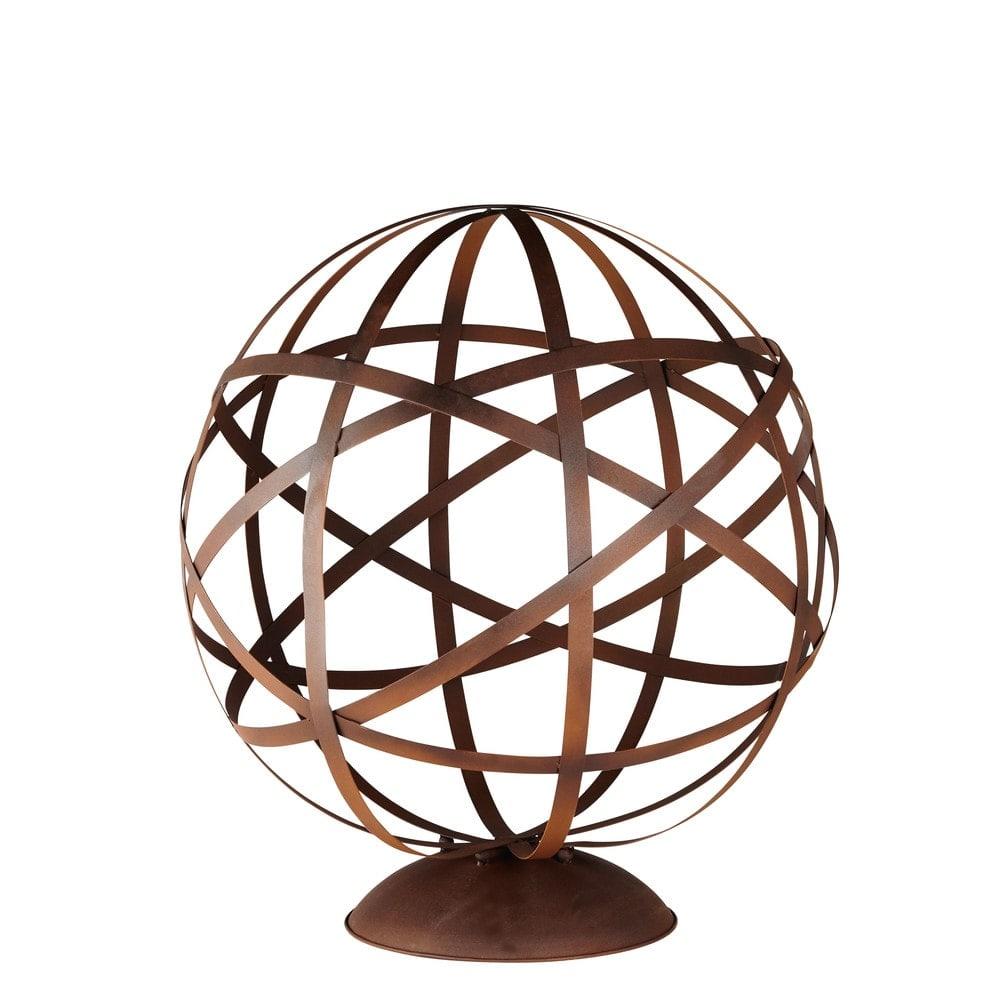 Gartendeko globus aus braunem metall h78 rusty maisons for Gartendeko aus metall