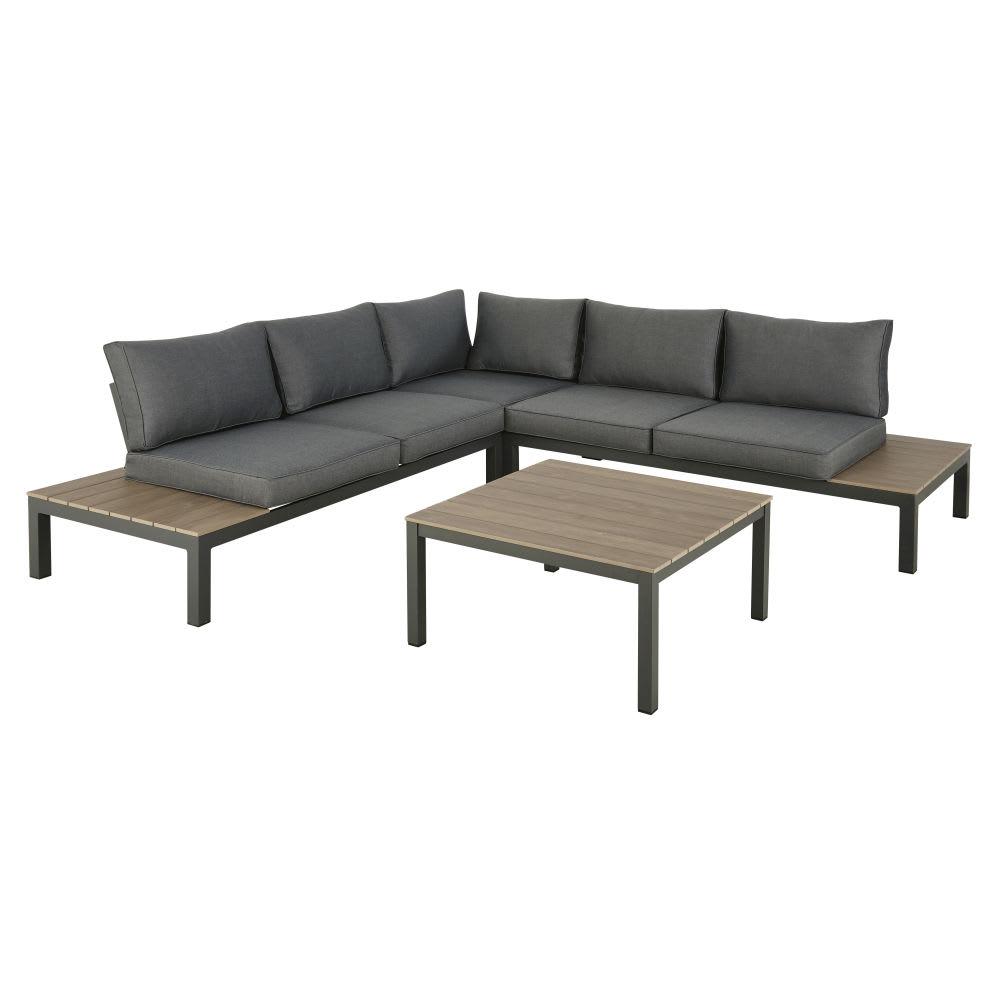 Gartenmöbel Mit 6 Sitzplätzen Anthrazitgrau Und Niedriger Tisch