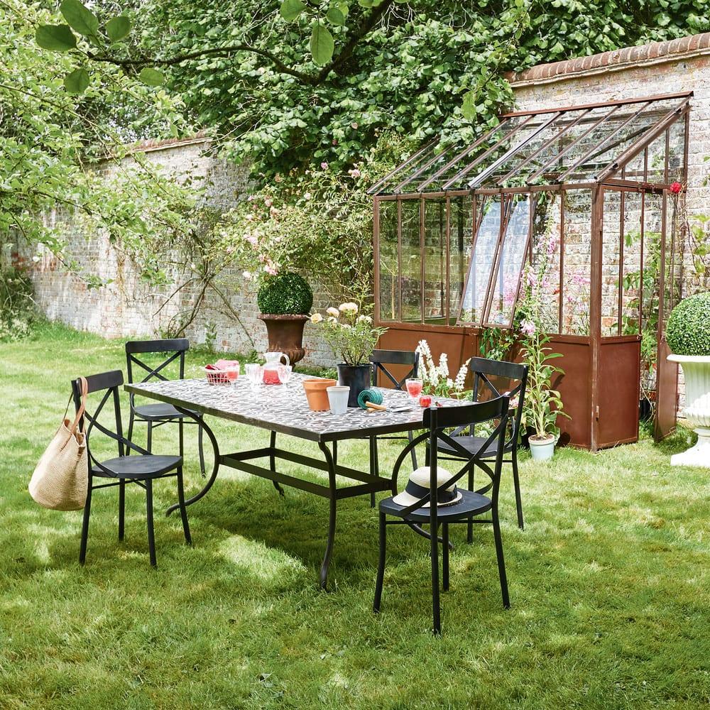 gartenstuhl aus metall schwarz antik tradition maisons. Black Bedroom Furniture Sets. Home Design Ideas