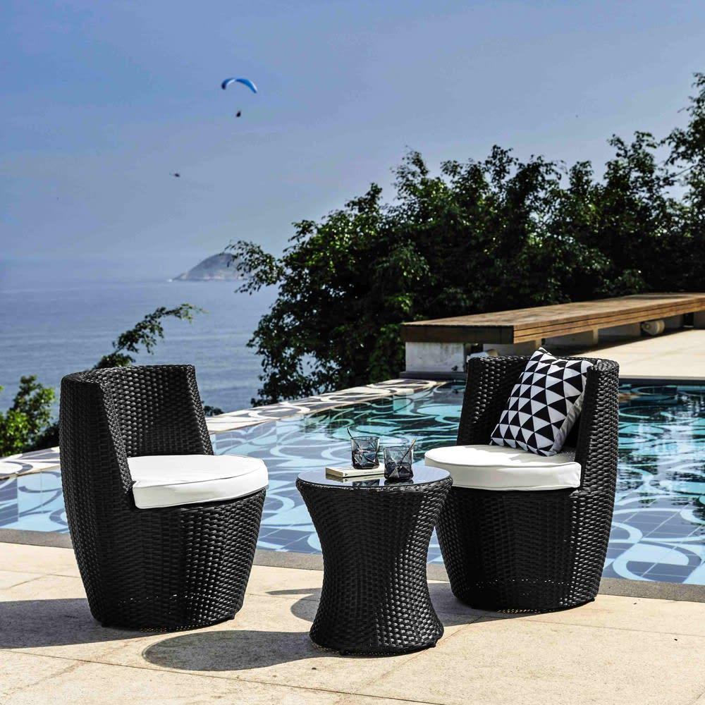 Gartentisch 2 sessel aus kunstharzgeflecht d 64 cm for Arredo giardino maison du monde