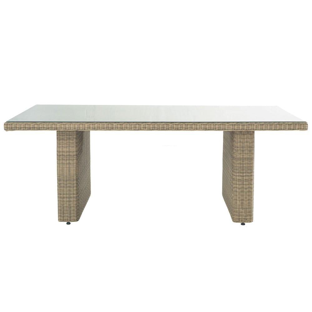 Gartentisch Aus Hartglas Und Kunstharzgeflecht B 200 Cm St Raphael