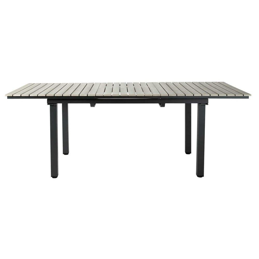 Gartentisch Aus Plastik In Holzoptik Und Aluminium B 213 Cm Grau