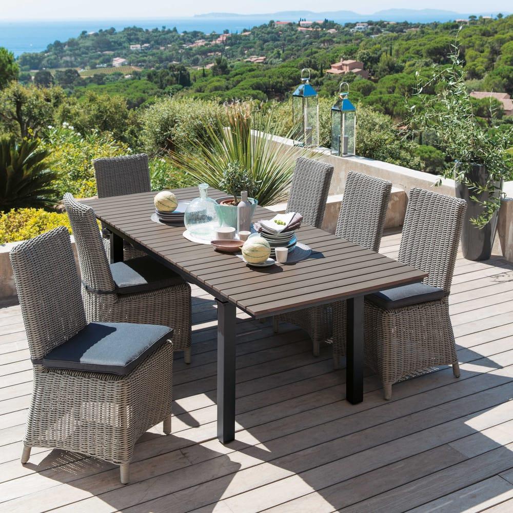 Gartentisch aus plastik in holzoptik und aluminium b 213 for Gartentisch aluminium