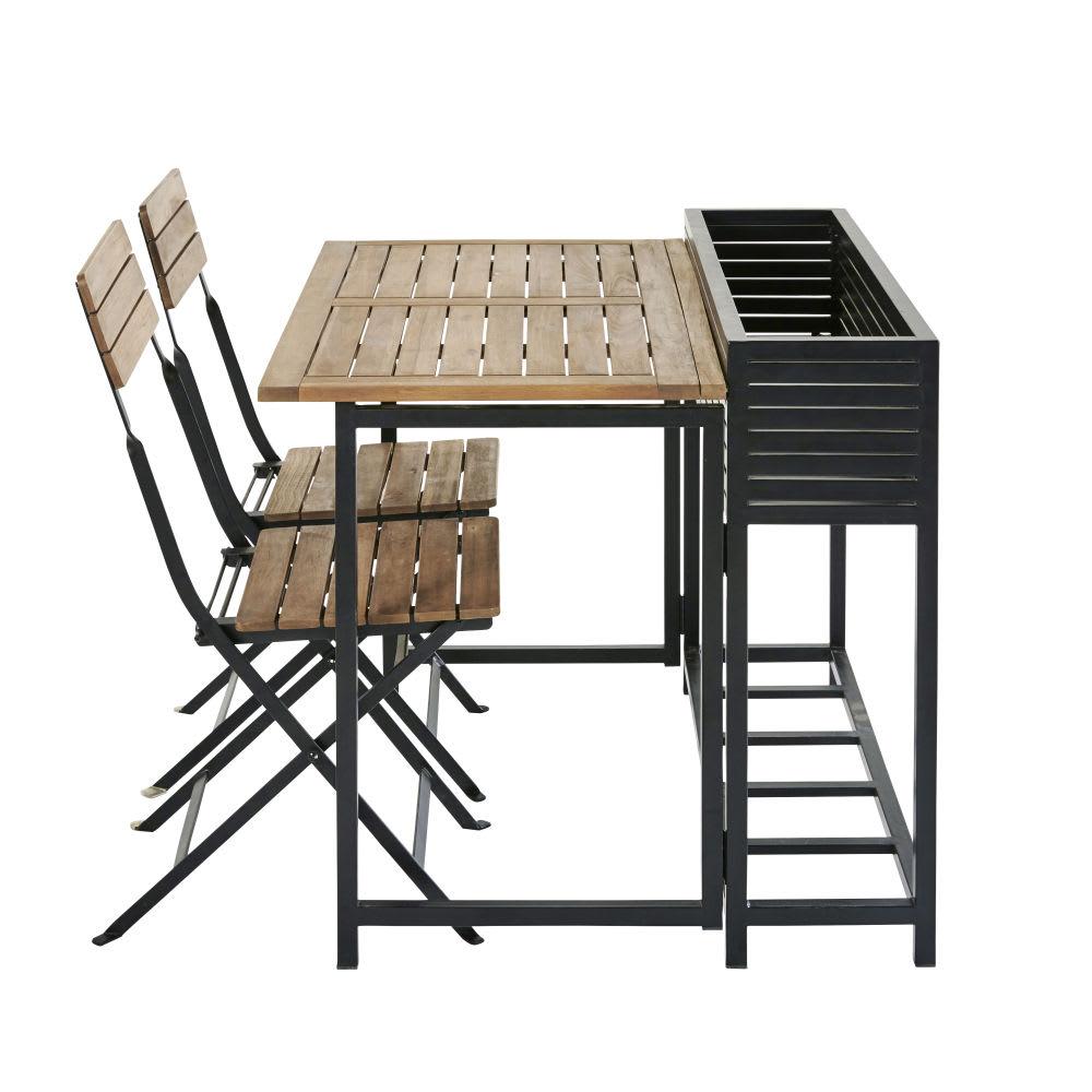 gartentisch und 2 st hle aus massivem akazienholz und. Black Bedroom Furniture Sets. Home Design Ideas