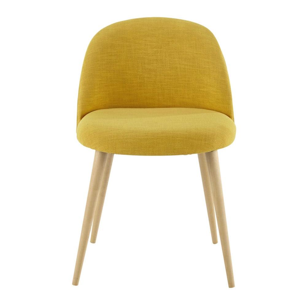 Gelber Stuhl Im Vintage Stil Und Massivbirke Mauricette Maisons Du
