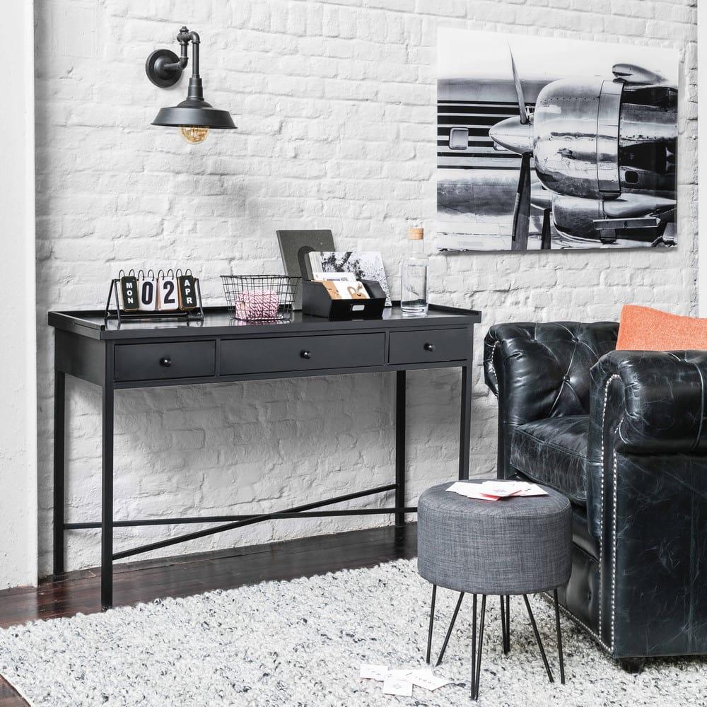 gepolsterter sessel aus leder schwarz vintage. Black Bedroom Furniture Sets. Home Design Ideas