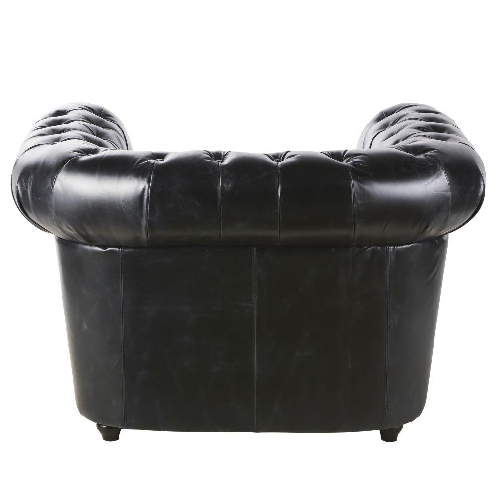 Gepolsterter Sessel aus Leder schwarz Vintage
