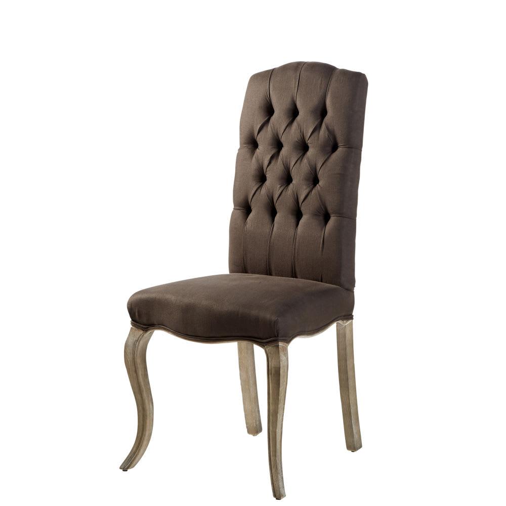 Gepolsterter Stuhl Aus Leinen Und Esche Grau Chloé Maisons Du Monde