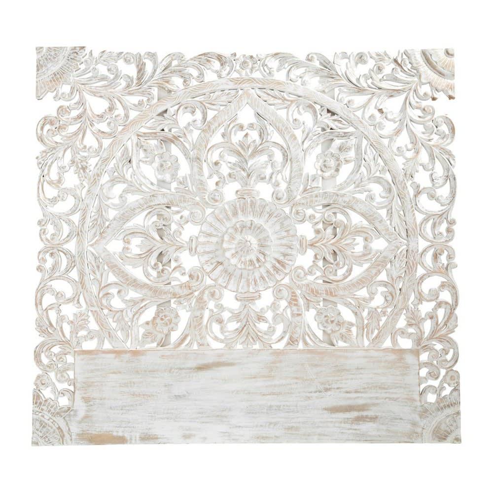 Geschnitztes 160 Bett Kopfteil Aus Massivem Mangoholz Weiß Kerala