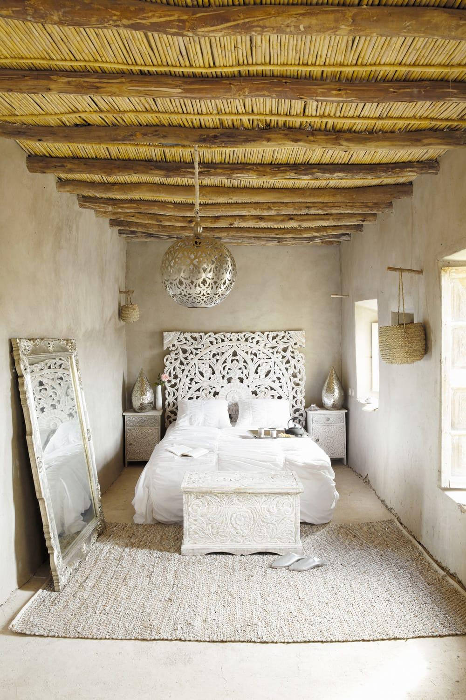 Geschnitztes 160 Bett Kopfteil Aus Massivem Mangoholz Weiss Kerala