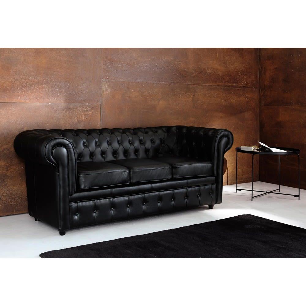 Gestepptes 3 Sitzer Sofa Aus Leder Schwarz Chesterfield Maisons