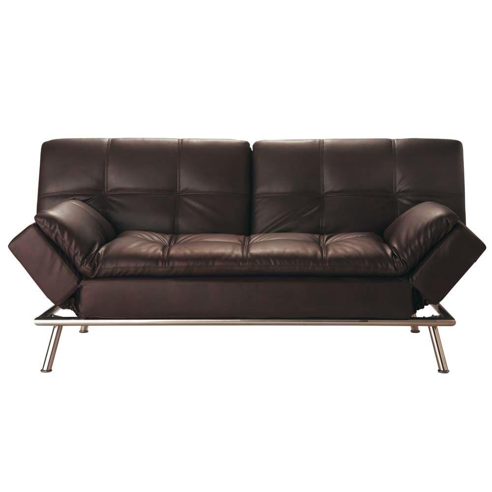 Gestepptes Ausziehbares 3 Sitzer Sofa Braun Denver Maisons Du Monde