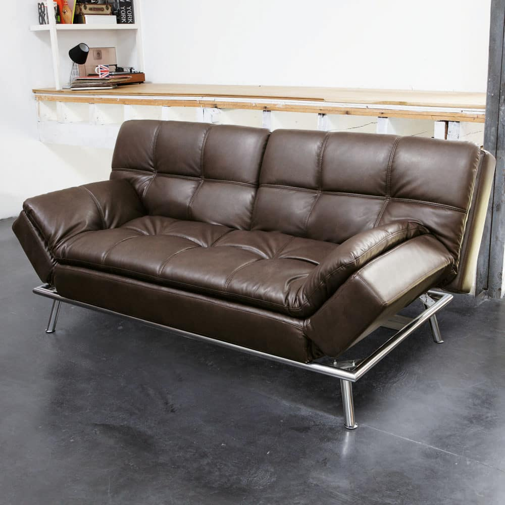 gestepptes ausziehbares 3 sitzer sofa braun denver maisons du monde. Black Bedroom Furniture Sets. Home Design Ideas