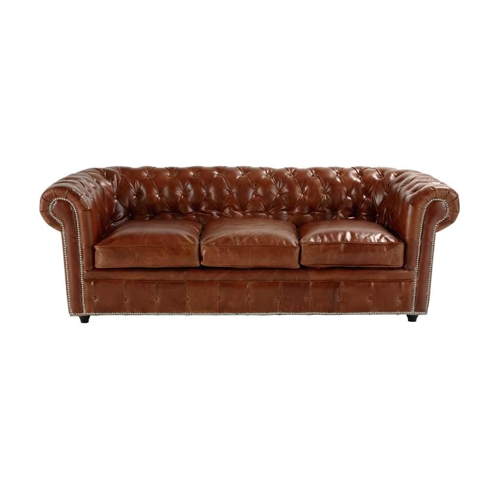 Gestepptes Ausziehbares Sofa 3 Sitzer Aus Leder Braun Chesterfield