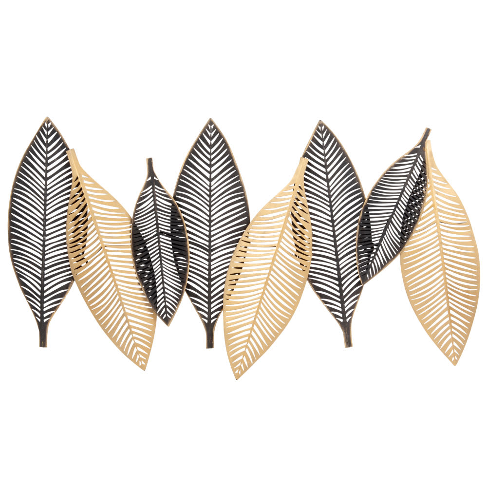 Gold and Black Metal Leaf Wall Art 93 x 51cm Enoya | Maisons du Monde