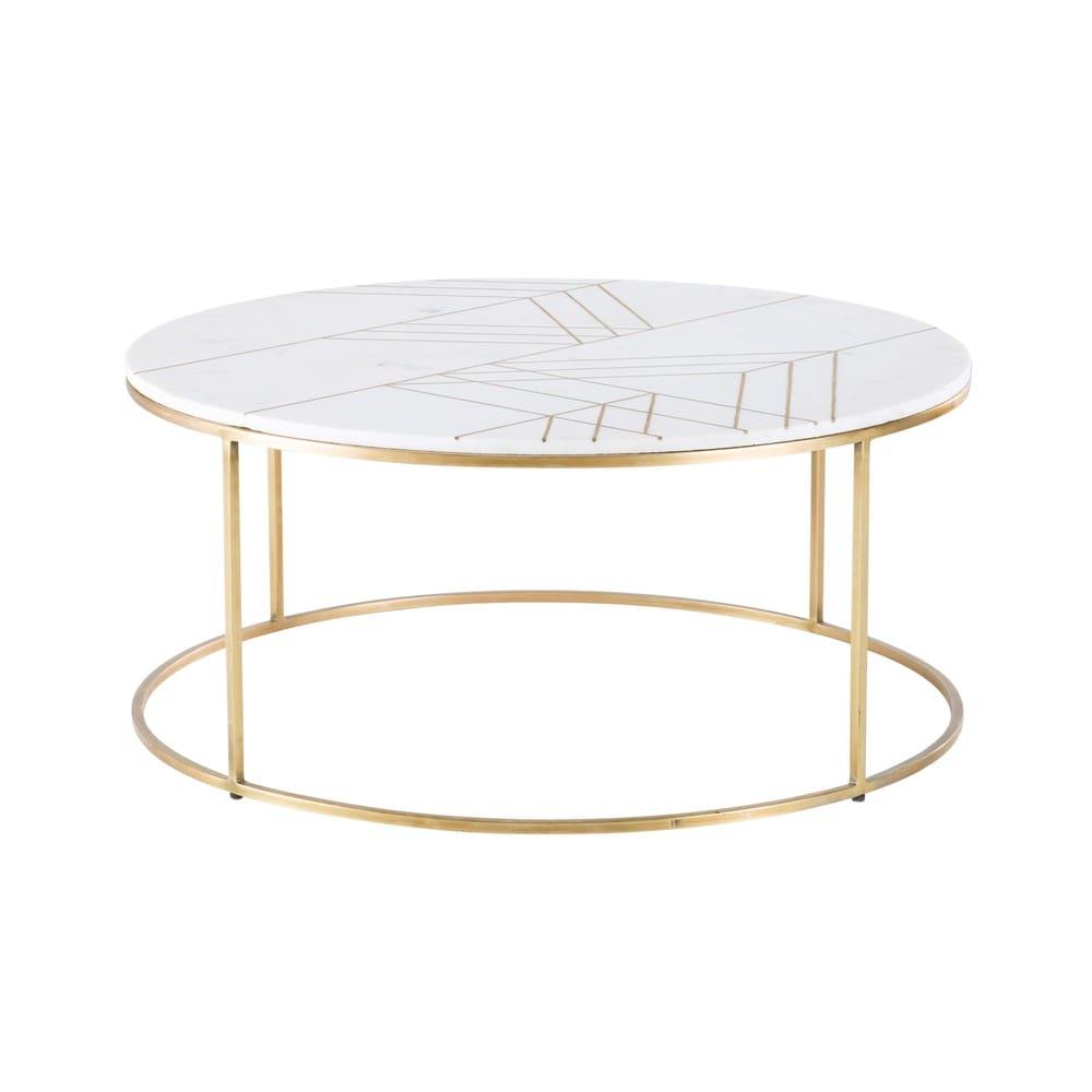 Gold Iron And White Marble Round Coffee Table Izmir Maisons Du Monde