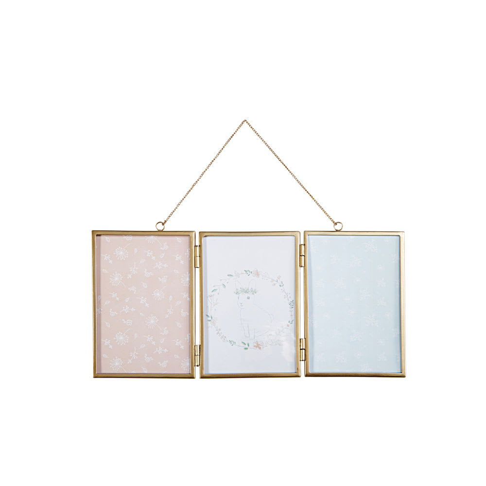 Gold Metal 3 Multi Aperture Hanging Photo Frame 45 X 21 Bucolique