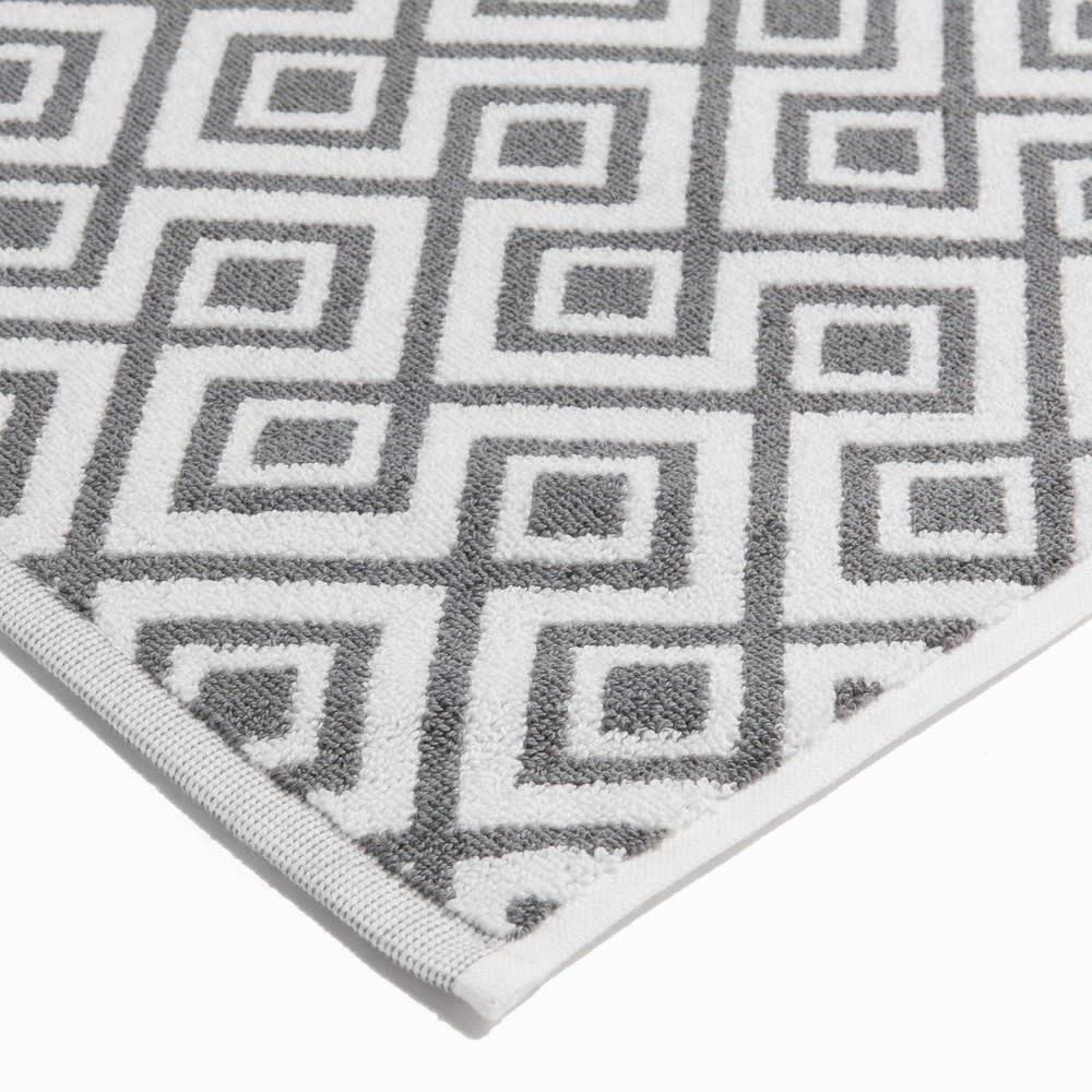 White Cotton Bath Mat With Grey Motifs 80 X 50 Cm Graphic Wild