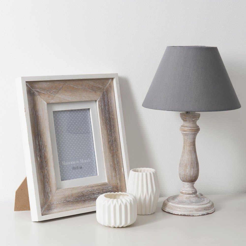graue lampe aus holz und stoff h38 snow maisons du monde. Black Bedroom Furniture Sets. Home Design Ideas