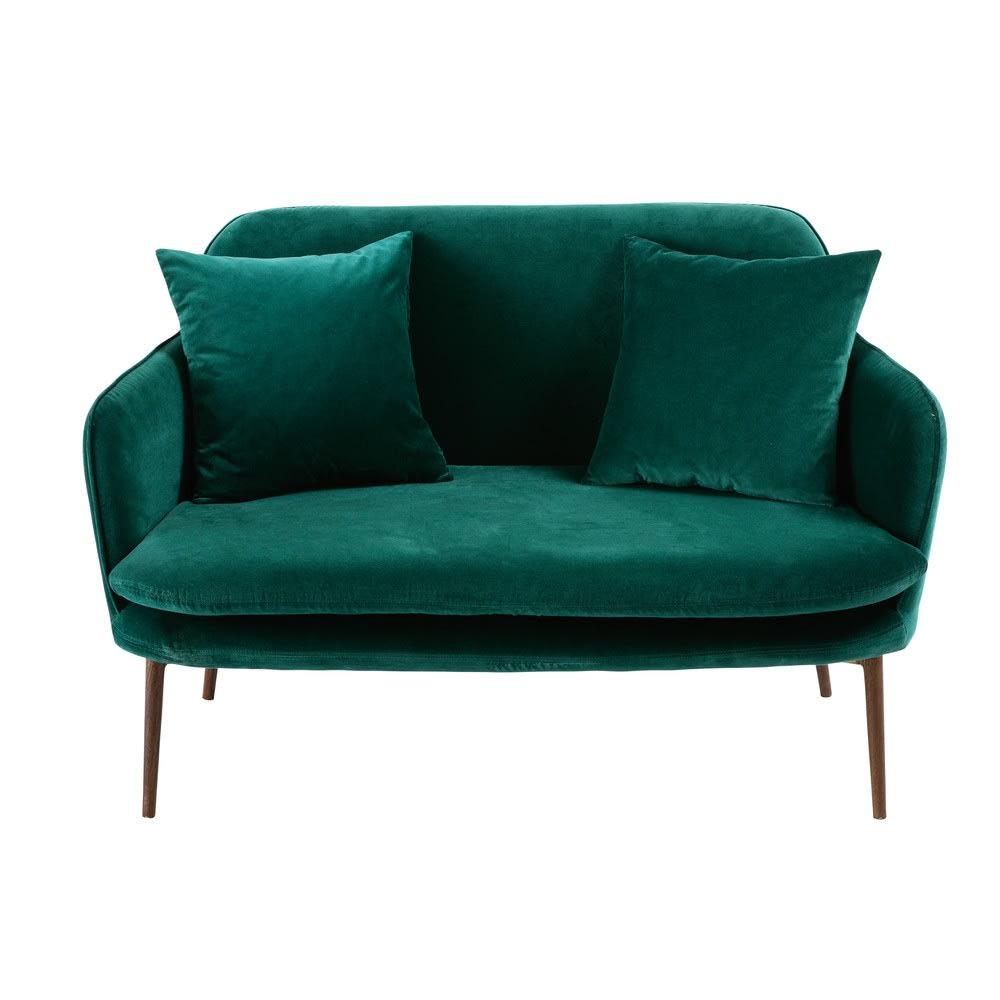 Green 2 Seater Velvet Sofa Bench Sacha