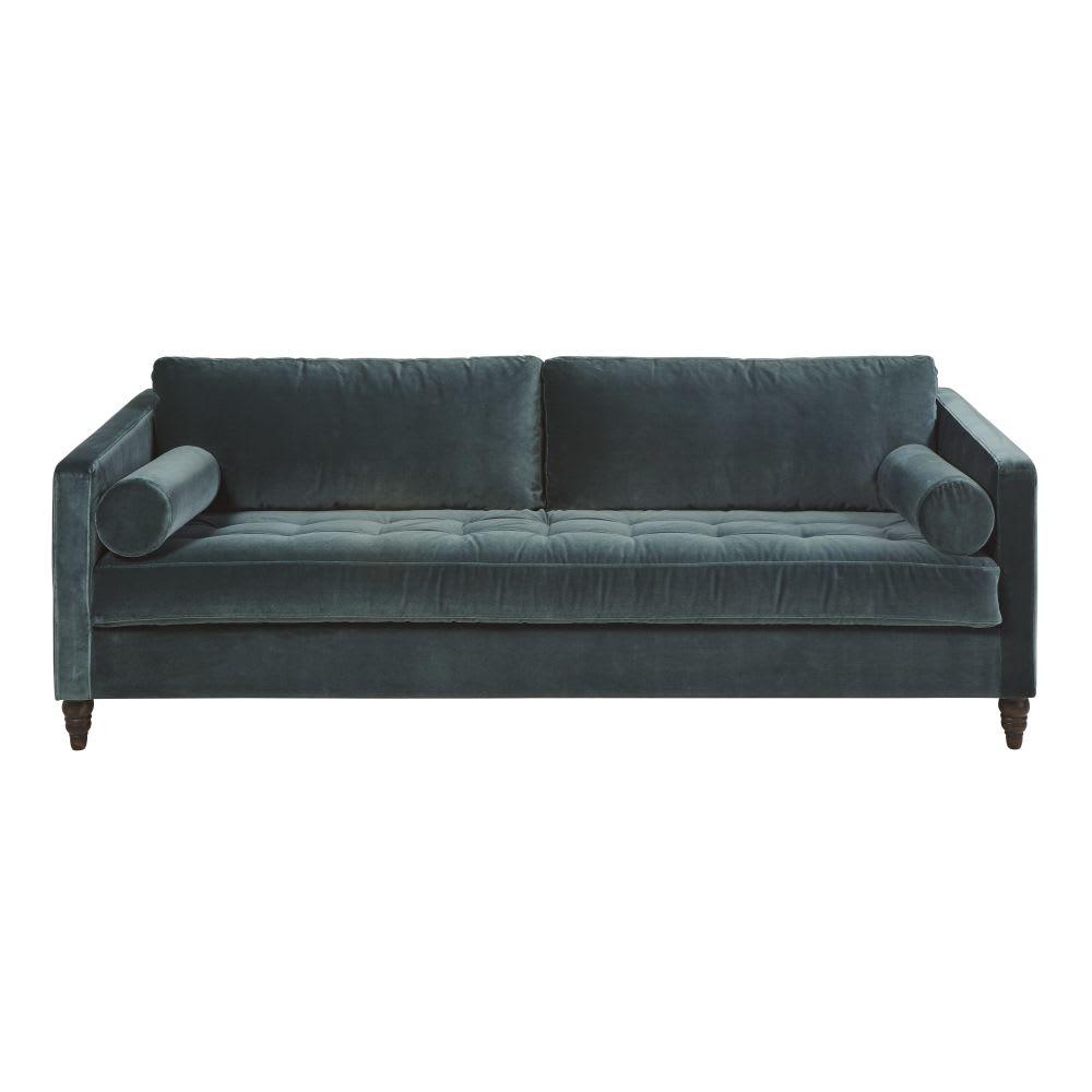 Green 3 Seater Velvet Sofa Bed Malik Maisons Du Monde